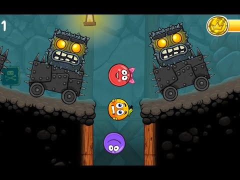 RED BALL 4 Purple Ball' Completed 'INTO THE CAVES' with Boss Fight Level 61 - 75 New Update