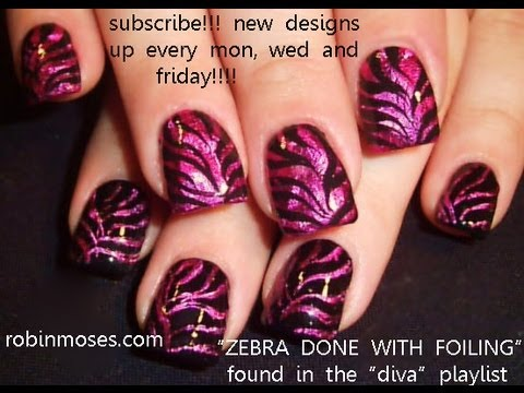 Cool Nails! Fun Zebra Foil Nail Art Design Tutorial - YouTube