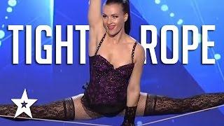 Amazing Acrobatics by Tightrope Walker Impresses Judges | Romania's Got Talent 2017