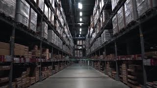 POV Of Warehouse Stock Video