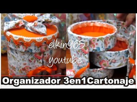 Caja organizadora cilindro 3 en 1 forrada en tela Día de la madre 2013