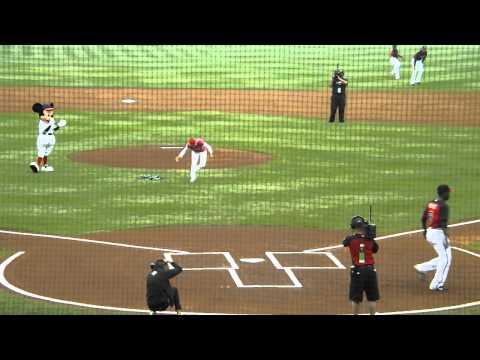 Leslye Gayle Throwing First Pitch At Atlanta Braves Game