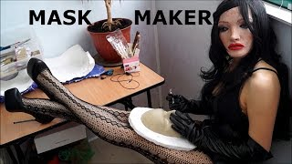I'm make my new female mask in leather gloves, lingere, pantyhose high heels