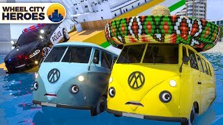 Sergeant Lucas The Police Car Escaping Trucks from Sinking Ship Wheel City Heroes (WCH) Cartoon