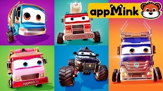 #appMink Learn Fortnite Dance with Cars - Carrier Truck Garbage Truck Monster Truck & Fire Truck
