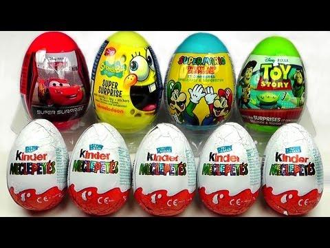 5 Kinder Surprise & 4 Surprise Eggs, Cars 2 Spongebob Toy Story Super Mario