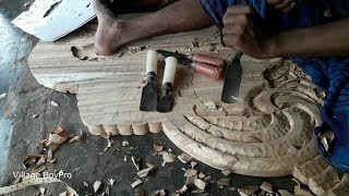 Art on Wood Furniture in Bangladesh Village Furniture Shop/Traditional Way of Cutting Wood Furniture