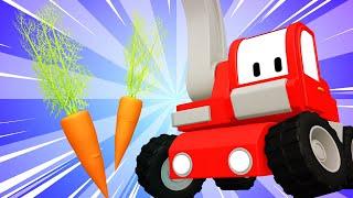 Tiny Trucks - Giant carrots - Kids Animation with Street Vehicles Bulldozer, Excavator & Crane