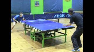 Table Tennis - backhand serve against left handed player