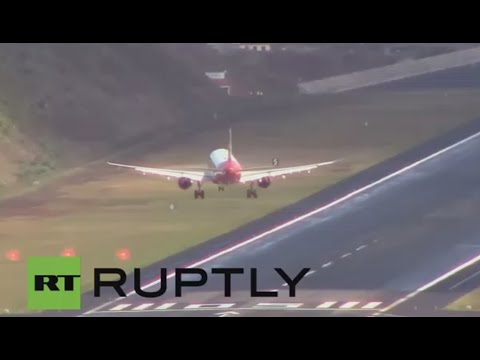 Europe's scariest airport: Incredible pilot skills as planes try to land in crazy crosswinds