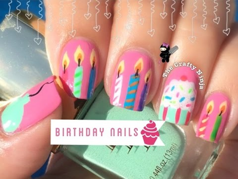 Birthday Cupcake Candle Nails