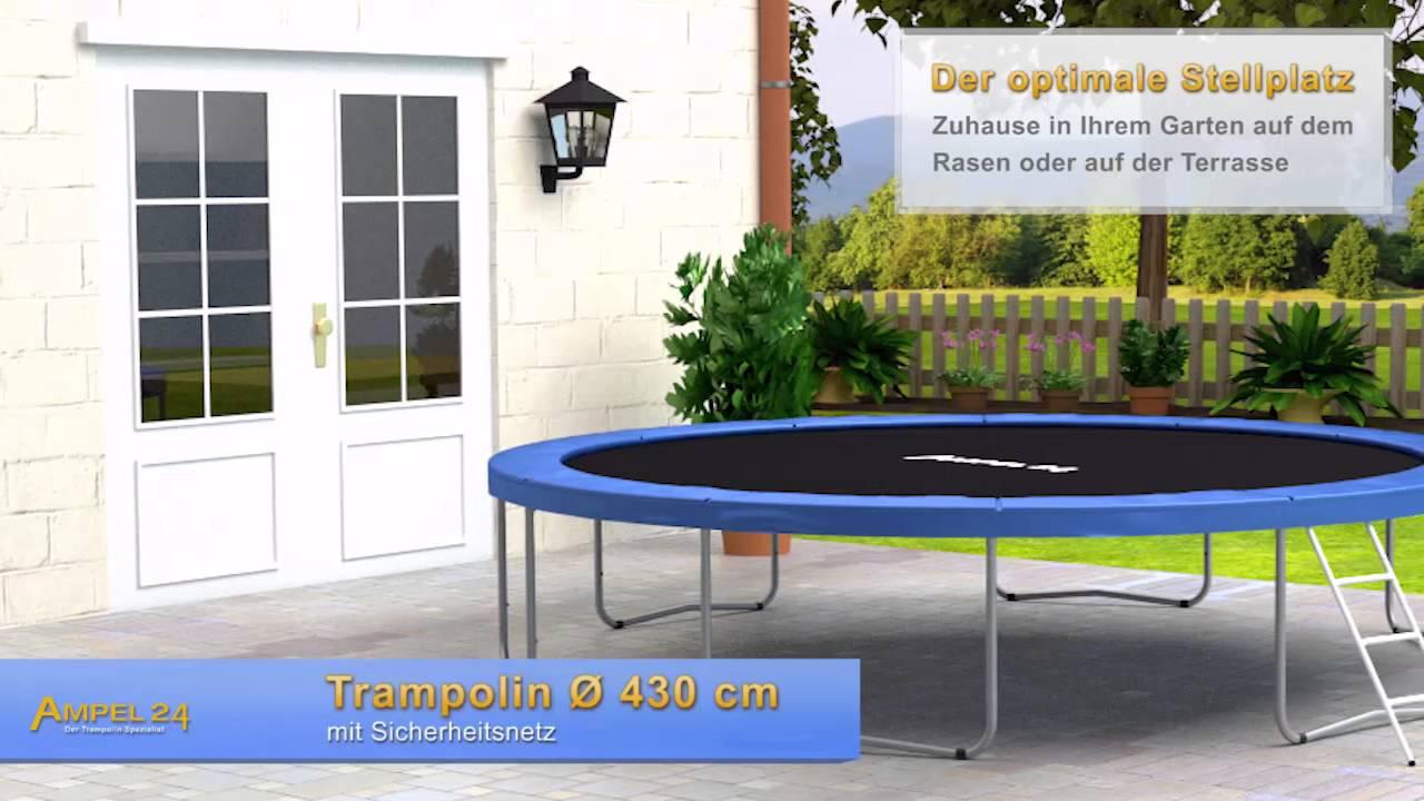 ampel 24 trampolin mit 430 cm durchmesser youtube. Black Bedroom Furniture Sets. Home Design Ideas