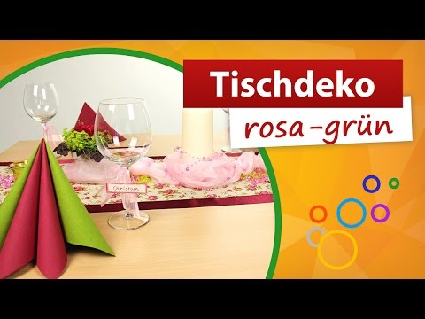 ♥ Tischdeko Rosa Grün ♥ Tischdekoration - Trendmarkt24