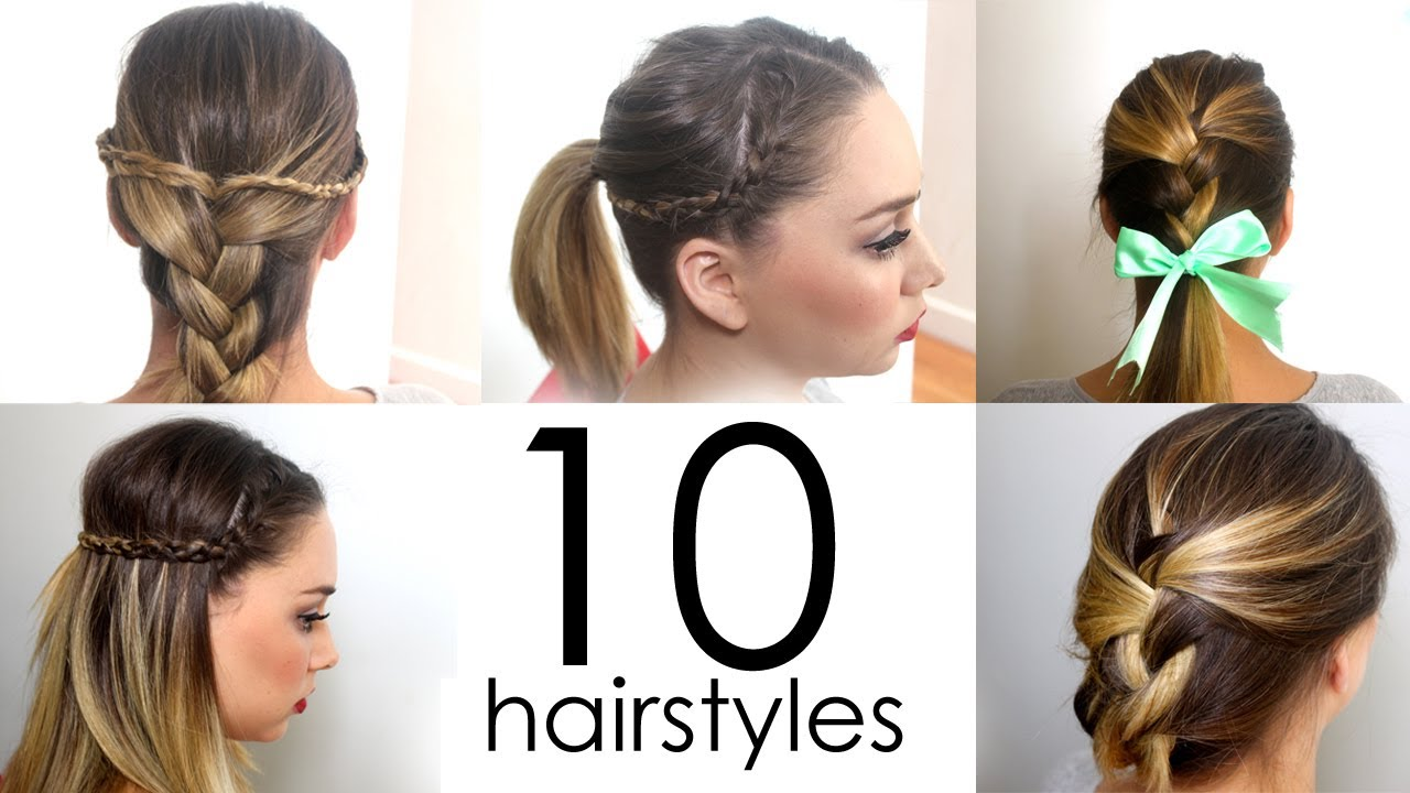 10 Quick & Easy Everyday Hairstyles in 5 minutes - YouTube