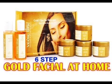 Gold Facial At Home In Hindi Step By Step Using Vedic Line Facial Kit/Parna's Beauty World