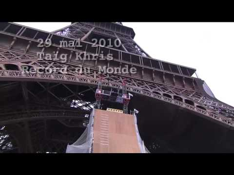 Thumb X-gamer Taig Khris jumps from the first floor of the Eiffel Tower