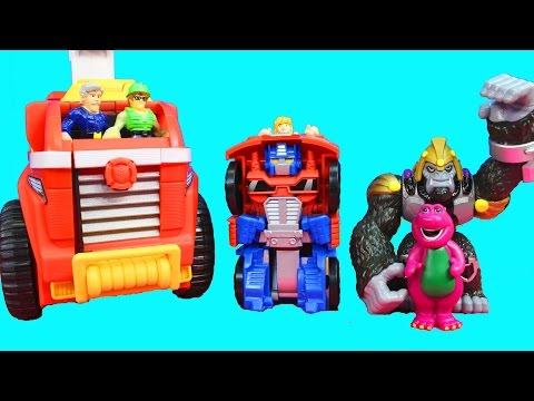 Playskool Heroes Transformers Rescue Bot Mobile Headquarters Imaginext Gorilla Grodd Barney