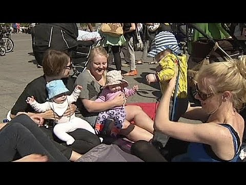 Danish women protest at breast feeding ban