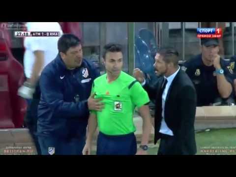 Diego Simeone Nervous Reaction Hitt Referee - Atletico Madrid vs Real Madrid ( 22/08/2014 ) HD