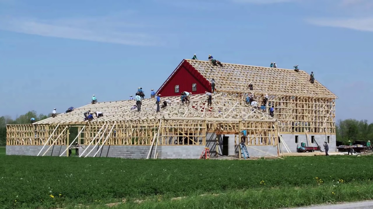 Ohio Amish Barn Raising May 13th 2014 In 3 Minutes And