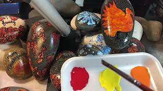 Rock painting . Easy fall leaves technique.
