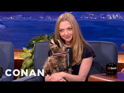 Conan Gives Amanda Seyfried His Screeching Jet Pack Raccoon - CONAN on TBS