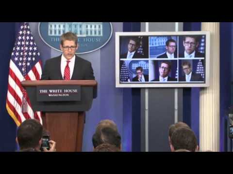 Raw: Carney Pokes Fun at His 'Many Faces'