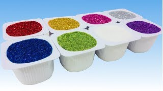 Learn To Count and Learn Colors With Glitter Yogurt Kinetic Sand Surprise