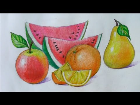 рисуем фрукты карандашом: