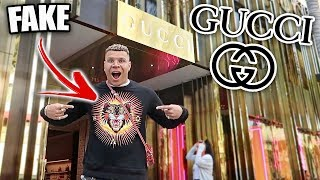 WEARING FAKE GUCCI TO THE GUCCI STORE PRANK!! **CAUGHT**