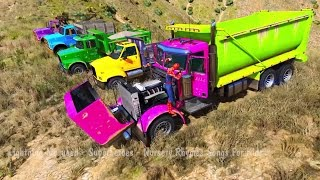 COLOR Truck Party Color CARS in Trouble TRAIN in Spiderman Cartoon with Nursery Rhymes Songs 3