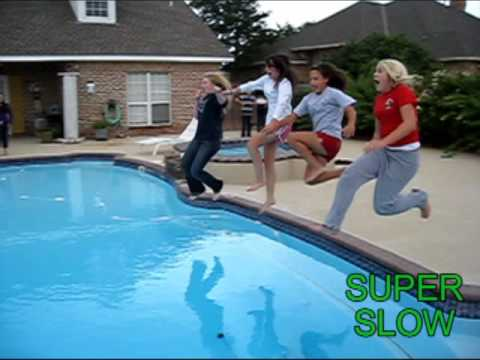 Girls Jump In Pool