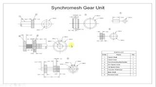 Detailed Part Drawing and Assembly of Synchromesh Gear Unit using AUTOCAD 2010