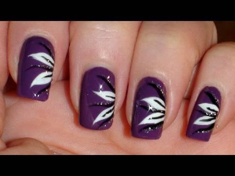 Purple white flower nails nail art tutorial youtube