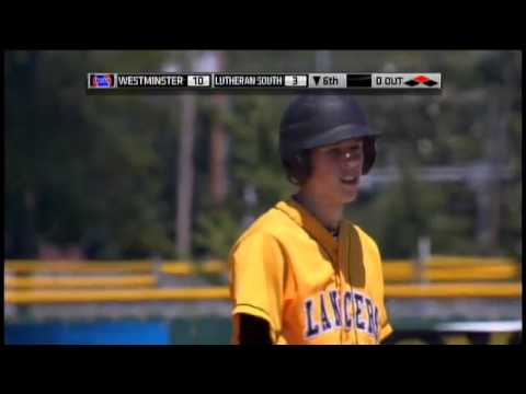 Trey Martin of Lutheran High School South hits a 2-run double in the MSHSAA class 3 championship