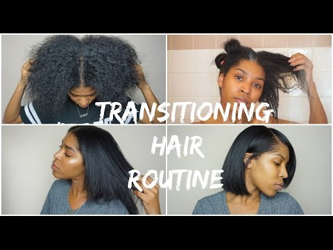 TRANSITIONING HAIR   Wash. Blow Dry & Flat Iron   17 months post Relaxer