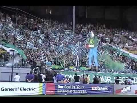 Portland Timbers Army Animated Tifo vs. Seattle - Timber Jim cuts down Space Needle Video