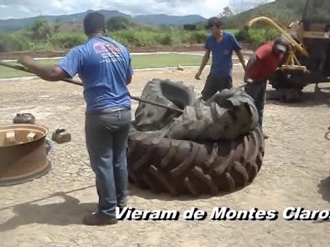 Encapando pneu de trator - magic tire inside another - una rueda dentro de otra