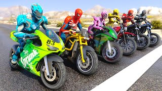 POWER RANGERS With Dirt MOTORCYCLES RACING Challenge wt SpiderMan - GTA V MODS