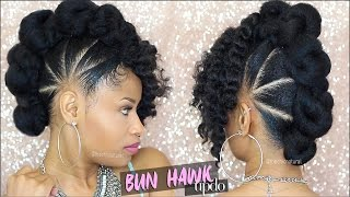 BAD AZZ BUN-HAWK UPDO ➟ Natural Hair Tutorial