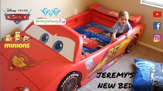 Jeremy's new Disney Pixar Cars 2 Lightning Mcqueen kids bed, Cars 3 bed set plus TOYS SURPRISES
