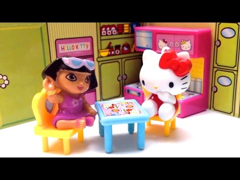 Hello Kitty Peppa Pig Dora The Explorer Dollhouse Unboxing Toys Review