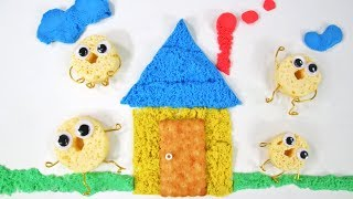 LET'S BUILD A GINGERBREAD HOUSE WITH WAFERS AND BUTTER COCONUT COOKIES LEARN COLORS AND NUMBERS