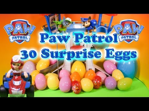 PAW PATROL Nickelodeon Paw Patrol 30 Toy and Candy Surprise Eggs a Paw Patrol Video