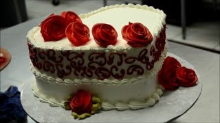 Decorating a Heart Shaped Cake with Red Roses