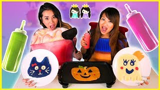 PANCAKE ART CHALLENGE! Halloween Edition with Princess ToysReview