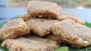COOKING TRADITIONAL AND SIMPLE COCONUT-JAGGERY BURFI   KOBBARI MITHAI   VILLAGE FOOD