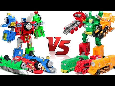 Thomas & Friends VS TrainRoBot  Red Green Blue Yellow Train Transformers Combine Robot Car Toys