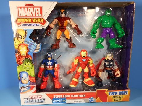 MARVEL PLAYSKOOL HEROES ADVENTURES WALMART EXCLUSIVE TEAM PACK ACTION FIGURE PLAY SET TOY REVIEW