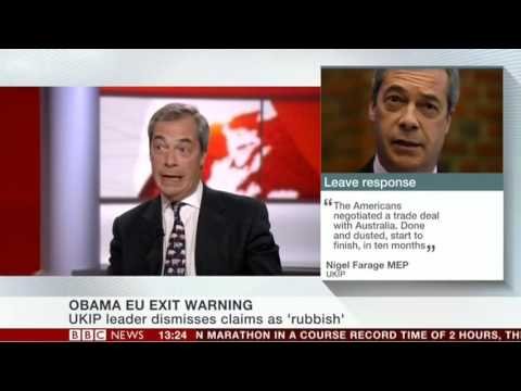 Nigel Farage in Response to Obama Trade Deal Scaremongering - 24 Apr 2016